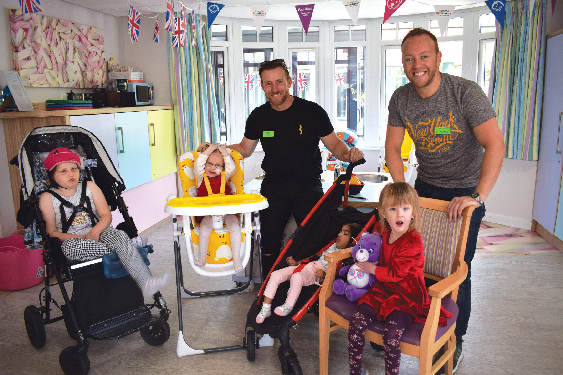 Steven Croft and Dan Whiston meet children at Brian House Children's Hospice