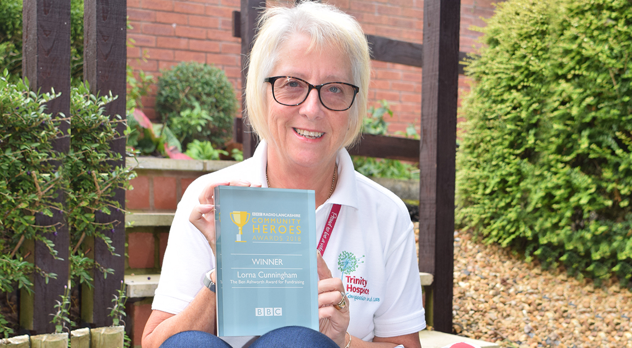 Lorna Cunningham received the Ben Ashworth Award for Fundraising at the BBC Radio Lancashire Community Heroes Awards for her Memory Elephants for Trinity Hospice.